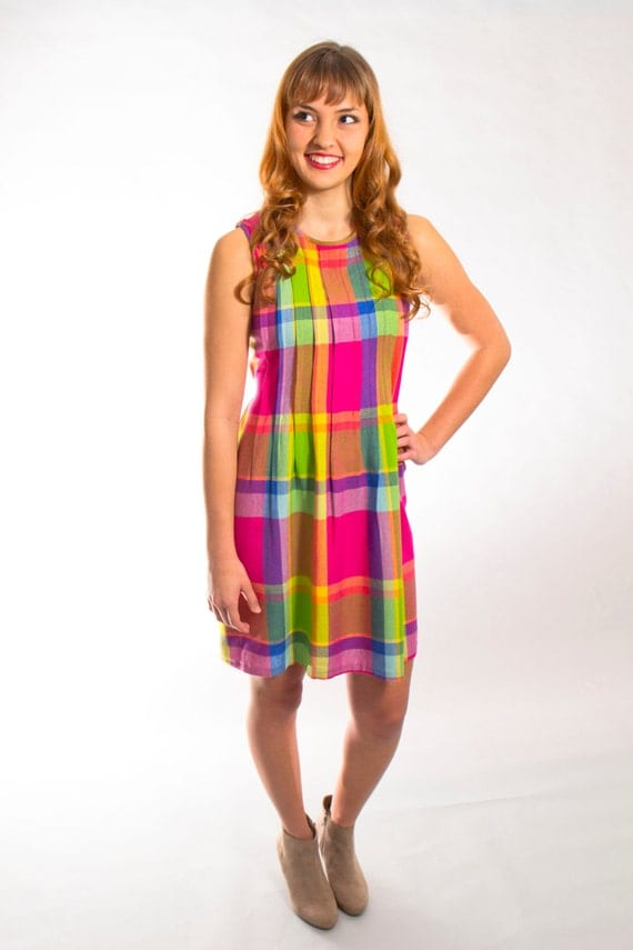 Vintage plaid mini dress multicolor rainbow sleeveless style