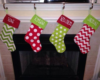 Super Cute Red and Green Chevron and Polka Dot Family Stockings