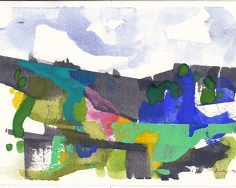 "Farm hill, original watercolor painting 7"" x 5"""
