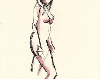 "Gesture 334 original figure gesture watercolor and charcoal 7.5"" x 10.5"" Unframed"