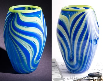 "Unique Hand Blown Glass Vase - Curved Tall ""Basket"" with Green and Blue Stripes"