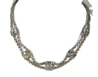 Antique Double Row Rhinestone Necklace