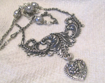 Art Nouveau Ornate Victorian Leaf Scroll Silver Plated Rhinestone & Faux Pearl Necklace, Statement Necklace, Cat Necklace, Heart Necklace