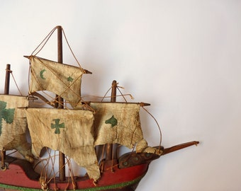 Spanish Galleon wall plaque, haunted wooden ship, hand carved hand painted model ship