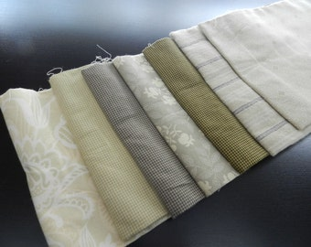 OOP French Farmhouse Andover Fabrics Renee Nannemann Taupe Cream Greens Fat Quarter Bundle 7 PCS