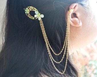 SALE Green Butterfly Hair Ornament Clip Ear Cuff