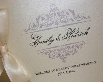 Wedding Programs or Welcome Books, Wedding Ceremony, Antique, Vintage, Elegant, Classic, Monogram, CHOOSE RIBBON, Black, Blush, Navy