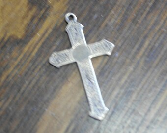antique gold plated on silver cross pendant