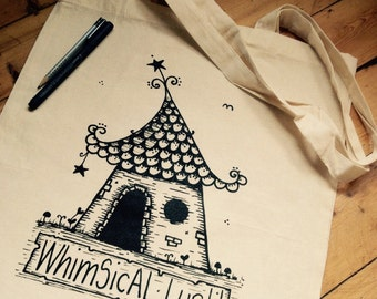 WhimSicAL LusH Star House Bag - Illustrated Cotton Tote Bag by WhimSicAL LusH