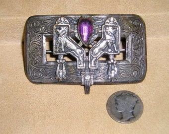Antique Brooch Egyptian Victorian Art Nouveau With Purple Glass Stone Lions Birds Vintage 1890's Jewelry 2243