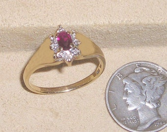 Vintage Solid 10K Gold Ring With Man Made Ruby Stone White Sapphires 1980's Size 5 1/2 Signed Jewelry A31