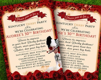Kentucky Derby Invitation- Derby Invitation-Audrey Hepburn Invitation- Derby theme party -Roses PartyHorse Party-Digital Invitation 5x7