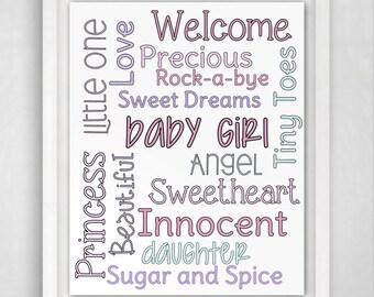 Nursery Print, Girls Nusery Art, Girl Nursery Decor, Baby Girl Nursery, Baby Girl Print, 8x10 Nursery Print