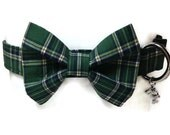 Green Plaid Bow Tie Dog Collar size Extra Large