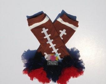 Navy and Red Chiffon Ruffled Football Leg Warmers, Patriots Baby, Baby Girl Ruffled Legwarmers, Baby Girl Patriots, Baby Girl Texans