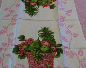 Linen Tea Towels Vintage Made in Poland Choice of 2 Blue Floral OR Red Fruit Basket Pure Linen Unused New Old Stock