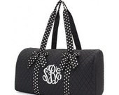 Personalized Quilted Black Duffle Bag ~ Monogrammed Quilted Black Duffle Bag ~ Embroidery Included