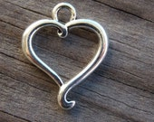 10 Silver Heart Charms 21mm Open Hearts