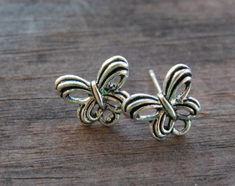 3 pairs Silver Butterfly Post Earrings with Loops Nickel Free 10mm Matching Backs