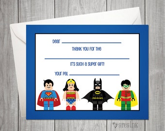 Fill In the Blank Thank You Notes - Lego Super Hero Themed