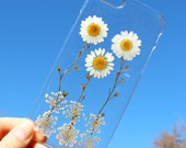 Unique Hand Picked Natural Dried Pressed Flowers on a iPhone 4 4S 5 5S 6 6s / 6 6s Plus Crystal Clear Case - White Daisy Coneflower Design