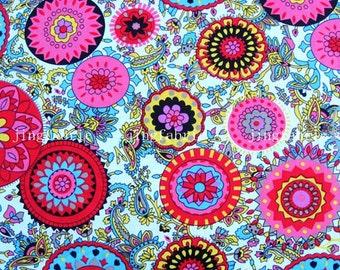 C2009B - 1 meter  Cotton Fabric - Big Circle flowers - pink (145cm width)