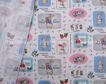 C729A - 1 meter Cotton Twill  Fabric - Happy Rabbit