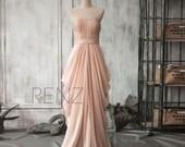 2016 Peach Chiffon Bridesmaid dress, Long Draped Wedding dress, Women Party dress, Formal dress, Evening dress Floor length(F105)-Renzrags