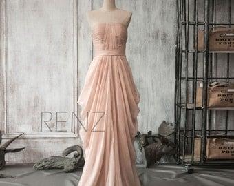 Peach Chiffon Bridesmaid Dress, Long Draped Wedding Dress, Women Party Dress, Formal Dress, Evening Dress Floor Length(F105)-Renzrags