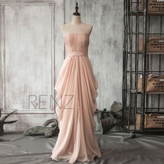 Peach Chiffon Bridesmaid Dress Long Draped Wedding Dress