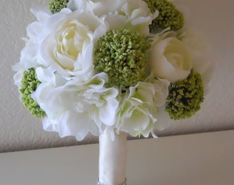 Classic Ivory, White and Green Bridal Bouquet