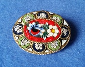 Vintage Micromosaic Oval Floral Brooch - red green blue