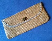 Raffia Clutch Purse with Vintage Pearly Buttons - tan