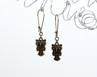 Owl Earrings Antique Brass Drops