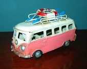 "VW Bus Model 6 1/2"" Long Pink Surfer Bus- Tin Model Love, PEACE and WOODSTOCK"