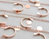 Lucky Rose Gold Horseshoe Necklace - Bridesmaids gift set - 1113