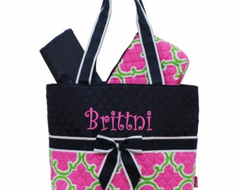 Personalized Quatrefoil Diaper Bag Set- 3 piece quilted Hot Pink & Lime with Navy Trim baby girl diaper tote set Momogram FREE