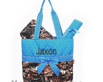 Personalized Diaper Bag Set - Camo and Aqua Blue Quilted Diaperbag