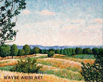 Big Sky Meadow - Oil Painting - Michigan Landscape - 18 x 22 Painting - Impressionist Art - Impasto Painting - Blue Sky