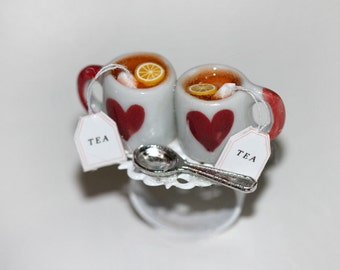 Tea Party Ring - Tea For Two  - Valentine jewelry - Love Ring - Food Ring - Miniature Food Jewelry