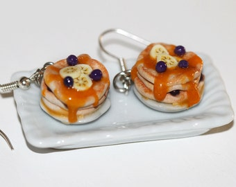 Blueberry Banana Pancake Earrings - Food Jewelry - Miniature food