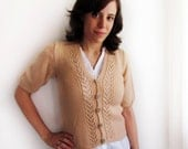 Peach handknit cardigan with lacy detail - Size S