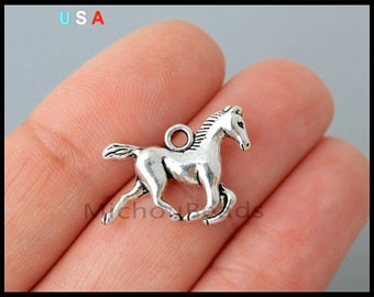 BULK 25 HORSE Charm Pendants - 20mm Antiqued Silver Stallion Horseback ridding Western Equestrian Metal Pendant Charms - Ship fr USA - 6282