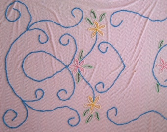 Vintage Pink Chenille Bedspread with Muilt colored Tufted Flower Pattern Great for CRAFT Project