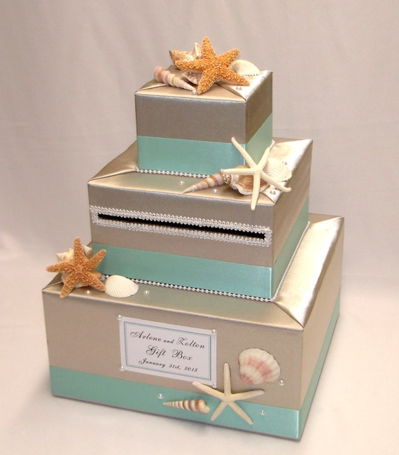 Beach Theme Home Decor Shadow Box Beach Gift: Elegant Custom Made Wedding Card Box BEACH Theme