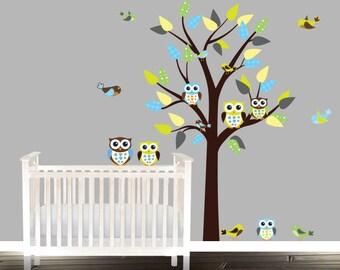 Gender neutral room, vinyl wall decal, owl wall decal, nursery tree decal, nursery wall sticker,  playrooms, wall decor, mural, sticker