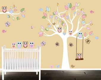 Custom vinyl wall decal, nursery tree set, birds butterflies and swing, owl wall decal, nursery decals