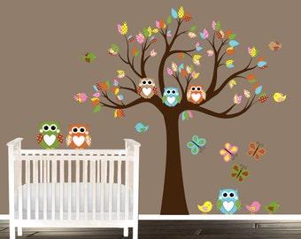 mocha nursery tree decas, Teal owls butterflies, vinyl tree decal, owl wall decals, nursery decals