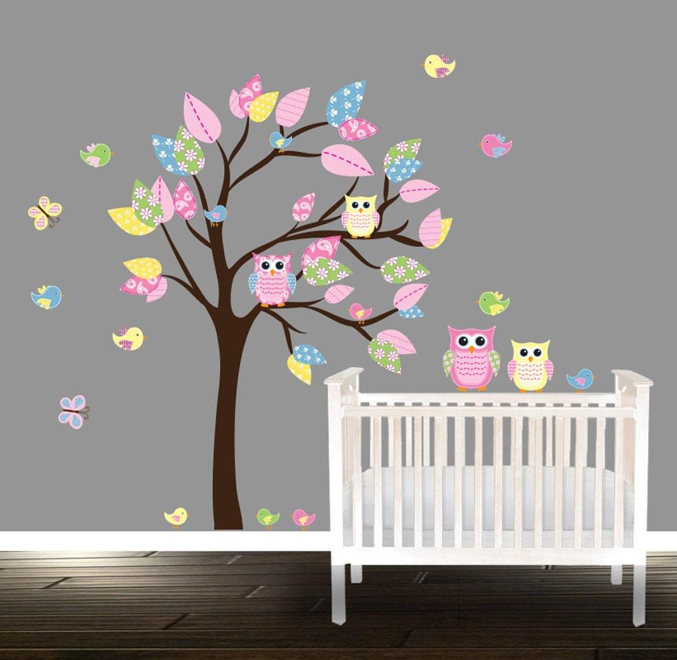 Nursery tree owl tree decals playroom stickers owl tree zoom amipublicfo Image collections