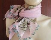 Cotton  scarf foulard  ,pale pink  foulard,pink vintage scarf